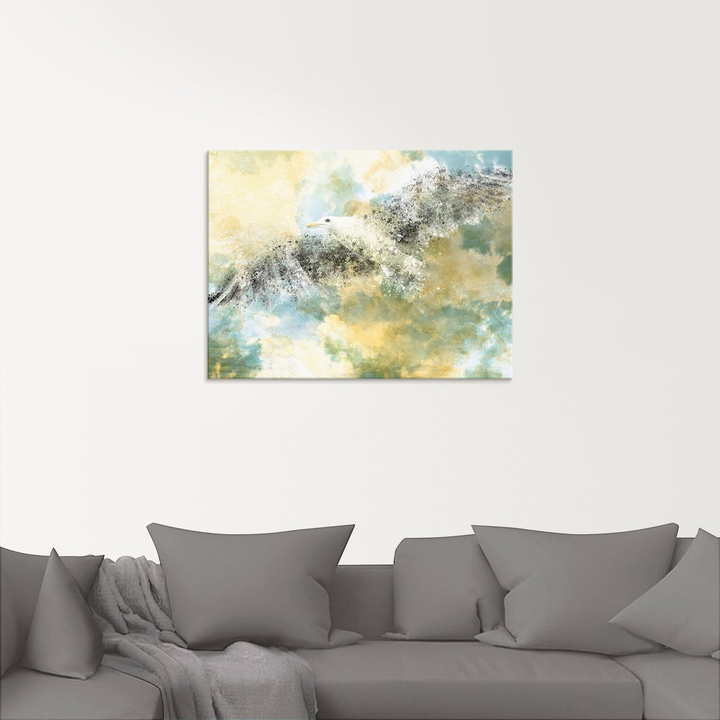 Artland Glasbild »Verschwindende Möwe«, Vögel, (1 St.)