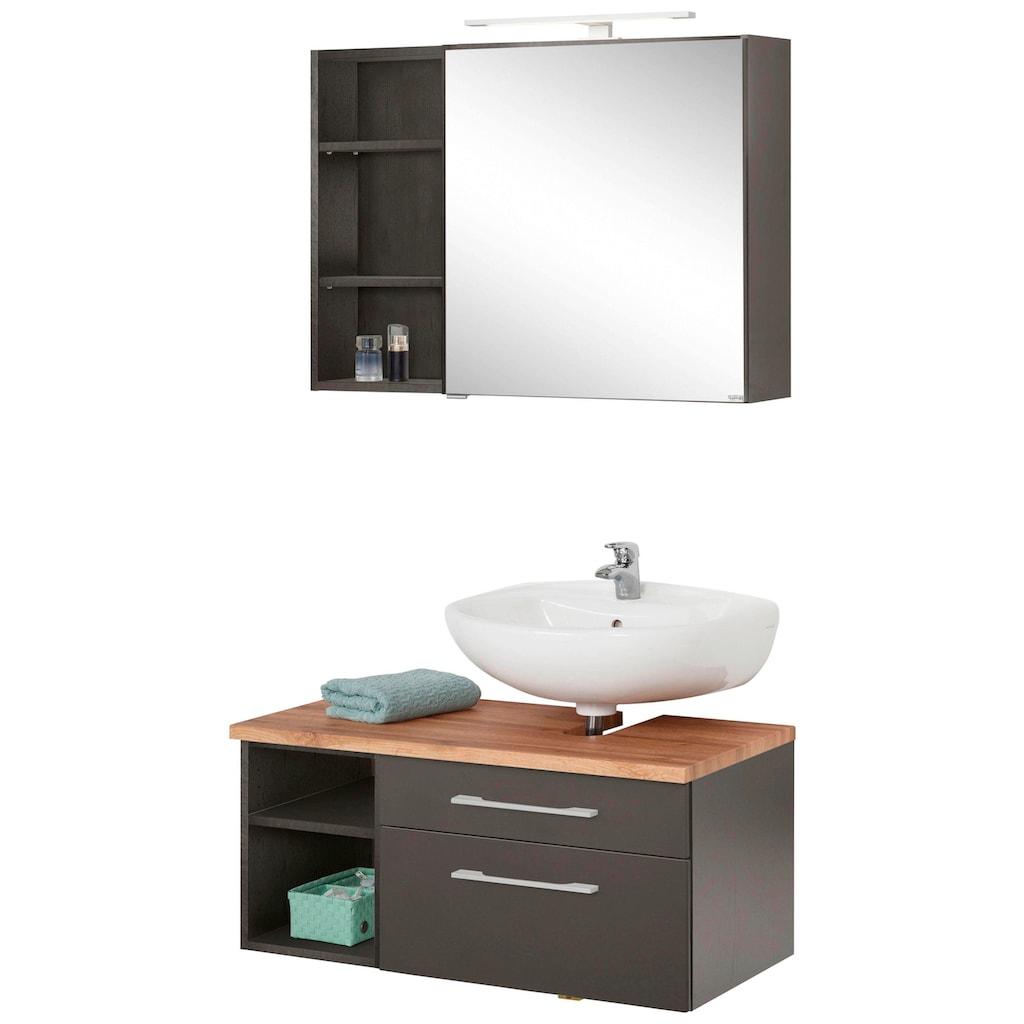 HELD MÖBEL Badmöbel-Set »Davos«, (3 St.), Spiegelschrank mit LED-Beleuchtung, Hängeschrank und Waschbeckenunterschrank