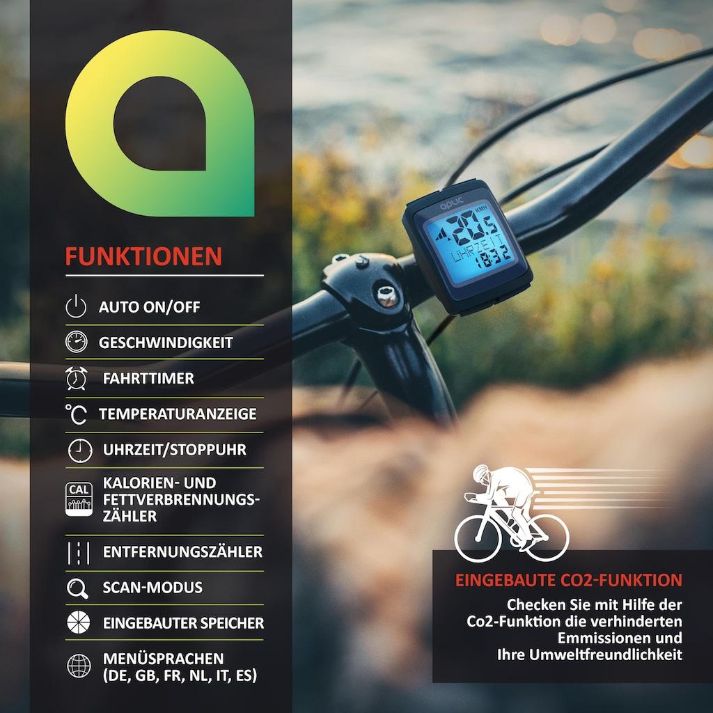 Aplic Fahrradcomputer mit 16 Funktionen »Werkzeuglose Montage / Kabellos / 6 Sprachen«