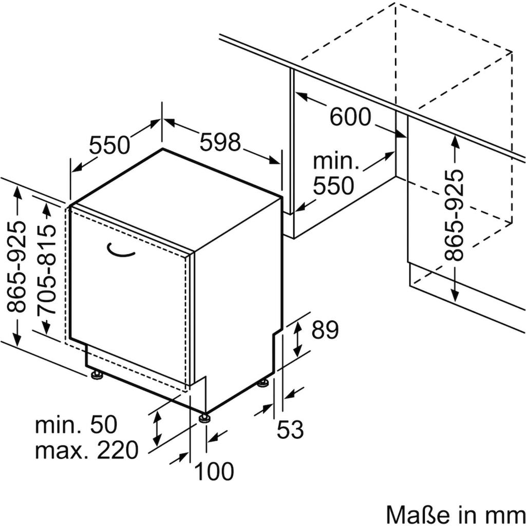 SIEMENS vollintegrierbarer Geschirrspüler iQ300, 9,5 Liter, 14 Maßgedecke