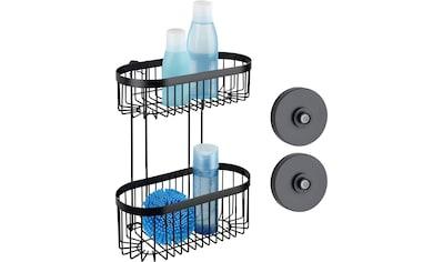 WENKO Wandregal »Classic Plus Black«, (1 St.), Badezimmer Duschablage mit 2 Körben kaufen