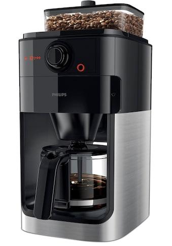 Philips Kaffeemaschine mit Mahlwerk »Grind & Brew HD7767/00«, aromaversiegeltes Bohnenfach, edelstahl/schwarz kaufen