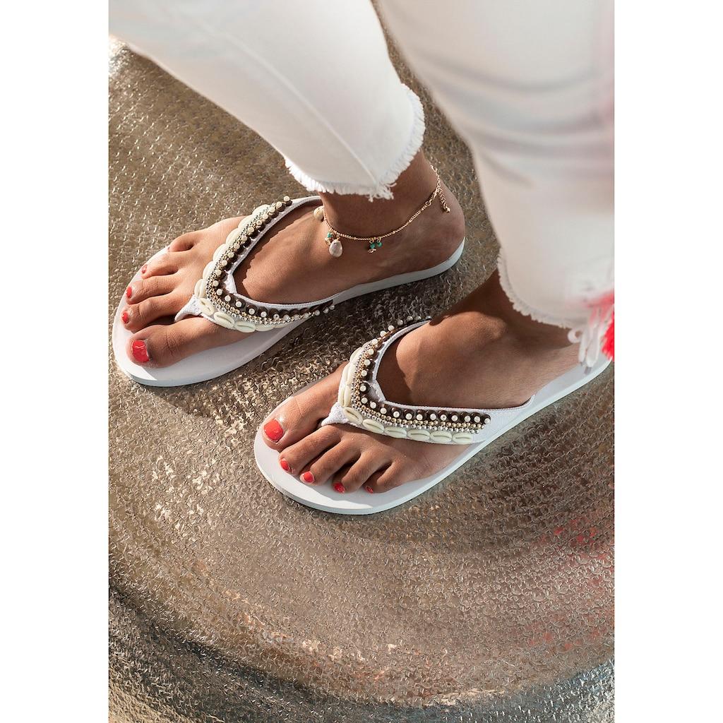 LASCANA Fußkette mit Anhänger, aus Muschel-Imitaten