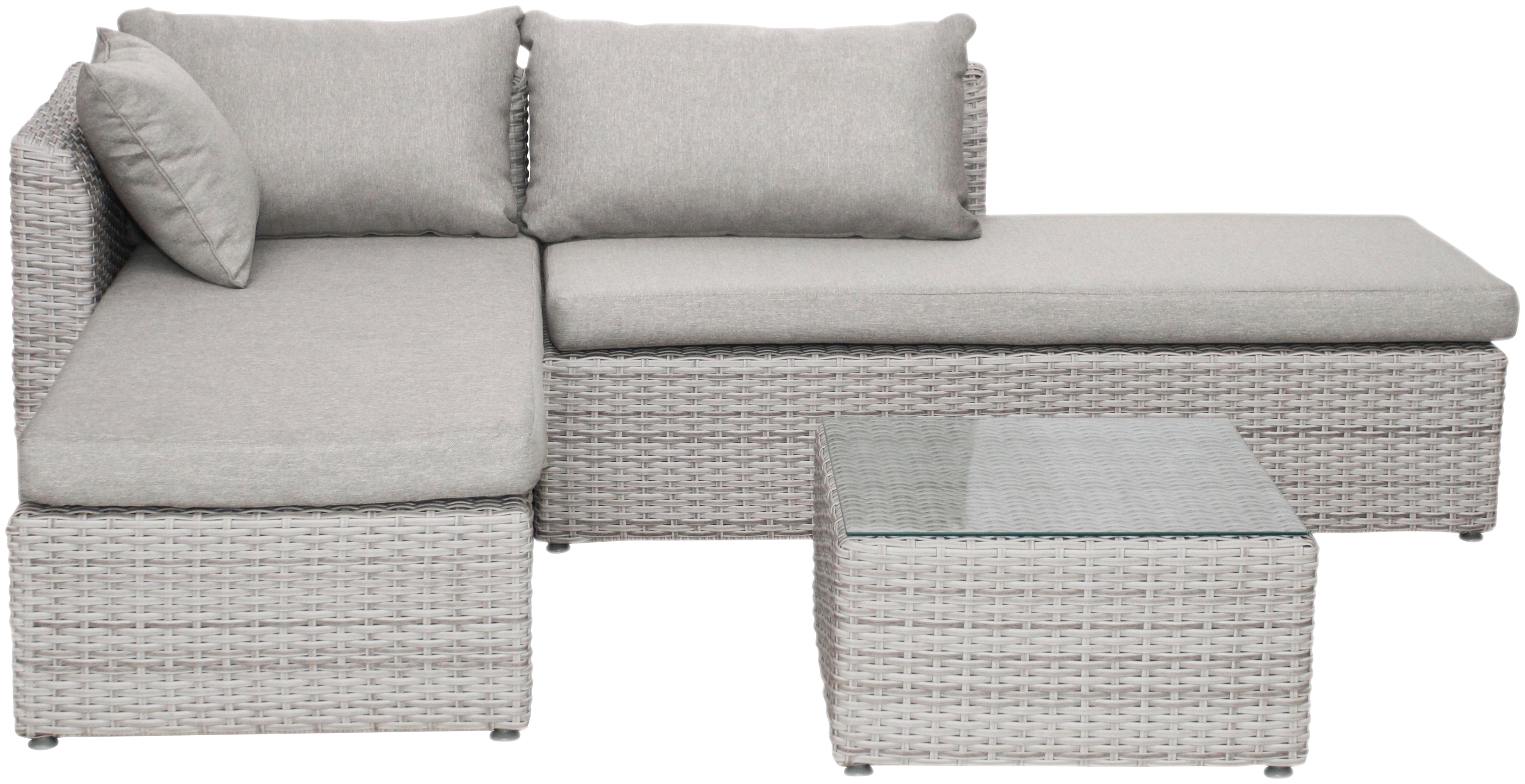 BELLASOLE Loungeset, 8 Tlg., Ecklounge, Tisch 60x60 Cm, Polyrattan,  Cremeweiß