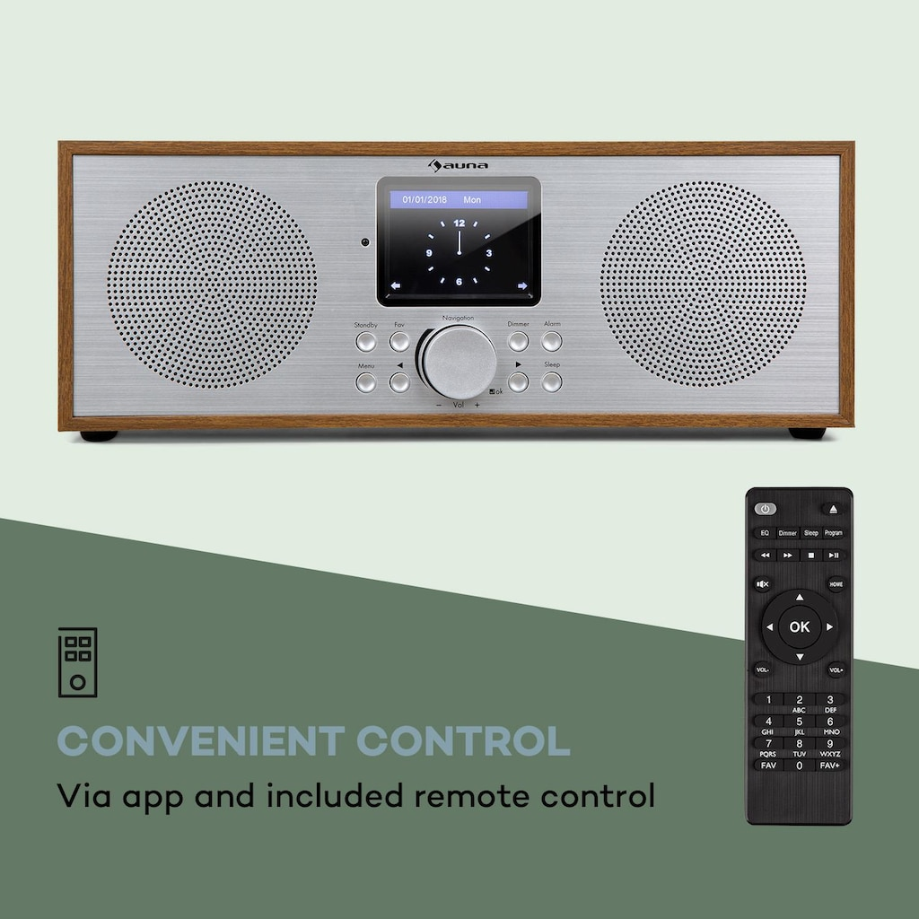 Auna Internet DAB+/UKW Radio WiFi BT Eiche