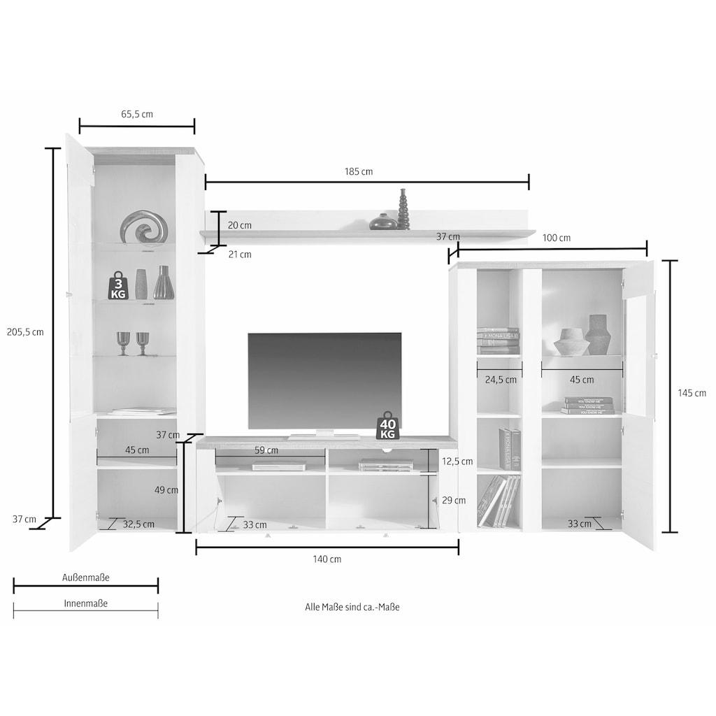 TRENDMANUFAKTUR Wohnwand »Larona«, (Set, 4 St.)