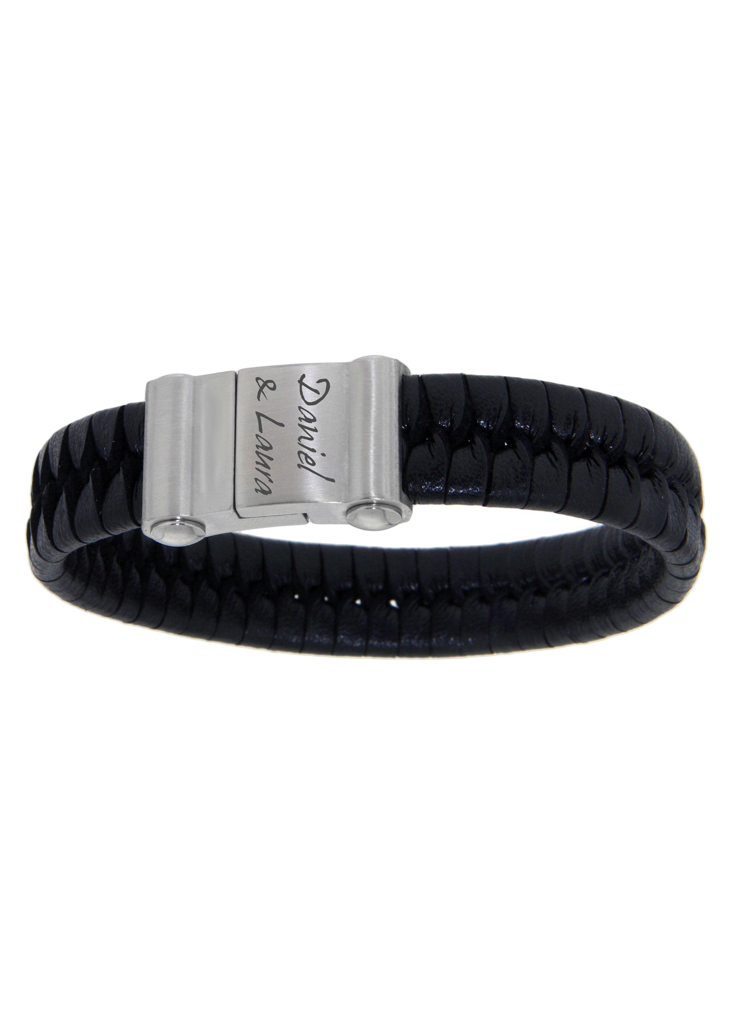 Firetti Armband mit Gravur »geflochten mit gratis Gravur« | Schmuck > Armbänder > Armbänder mit Gravur | Schwarz | FIRETTI
