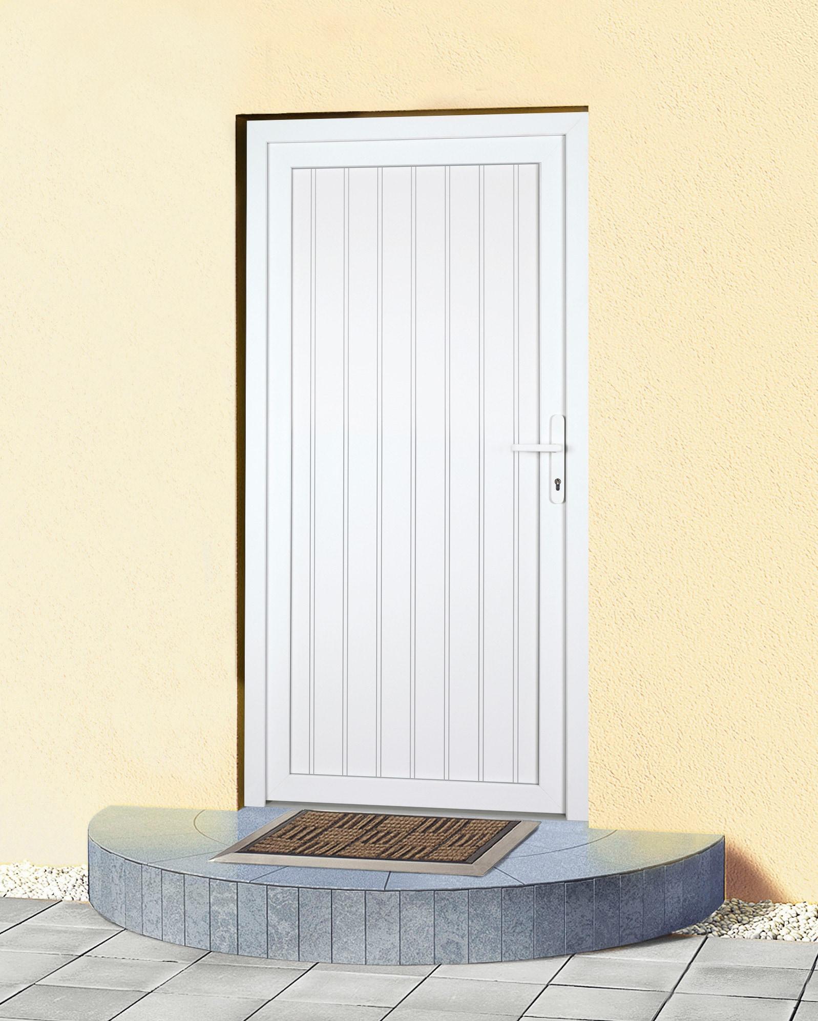 KM MEETH ZAUN GMBH Mehrzweck-Haustür »K608P«, BxH: 108 x 203 cm, weiß, in 2 Varianten | Baumarkt > Modernisieren und Baün > Türen | Weiß | Metall | KM MEETH ZAUN GMBH