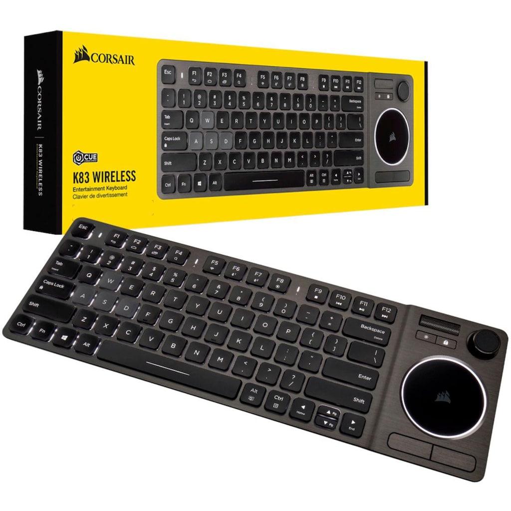 Corsair Gaming-Tastatur »K83 Wireless Entertainment«, (Touchpad-Multimedia-Tasten-Windows-Sperrtaste-Joystick)