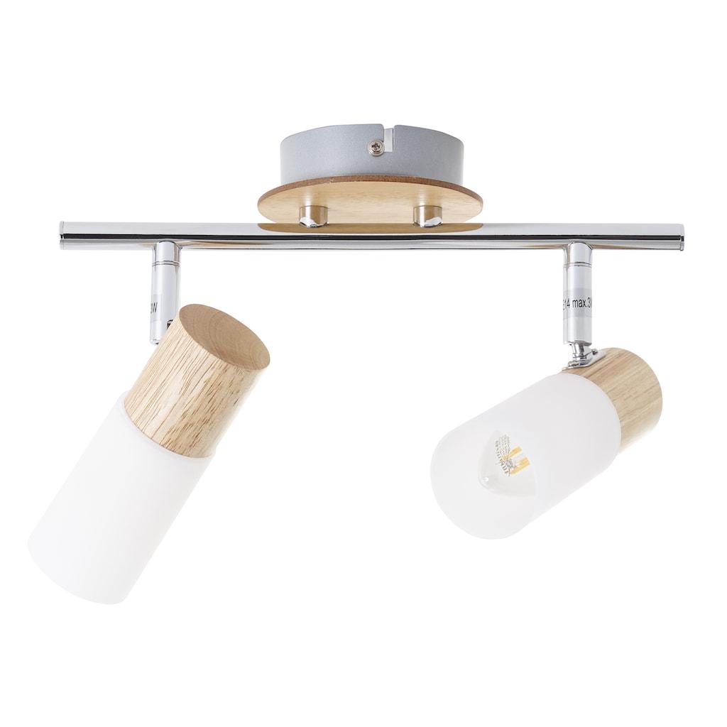 Brilliant Leuchten Deckenleuchten, E14, Babsan Spotrohr 2flg holz hell/weiß