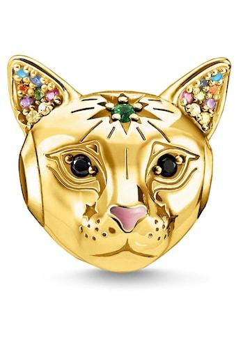 THOMAS SABO Bead »Katze gold, K0327-471-7«, mit Emaille, synth. Korund, Glassteinen und Zirkonia kaufen
