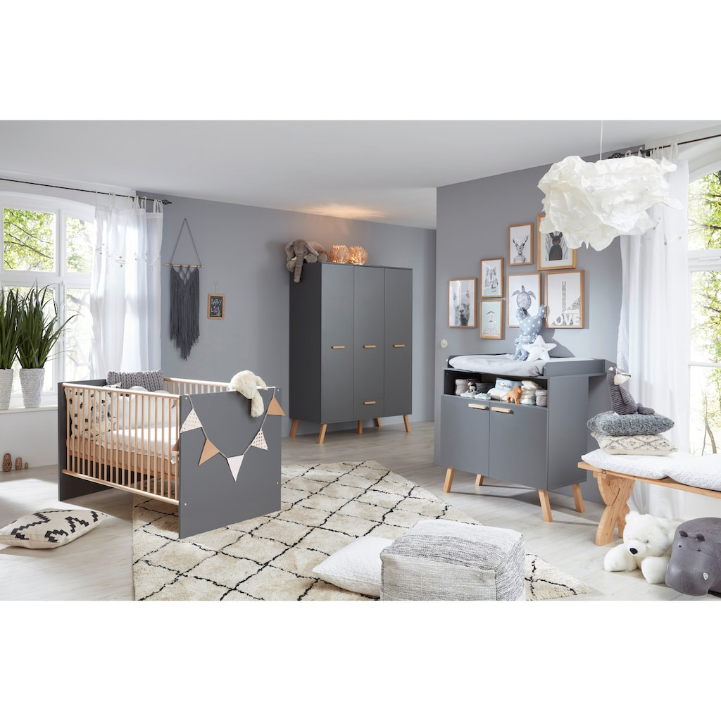 Babyzimmer-Komplettset »Toronto«, (Set, 3 tlg.), Bett, Wickelkommode und Schrank 3 türig
