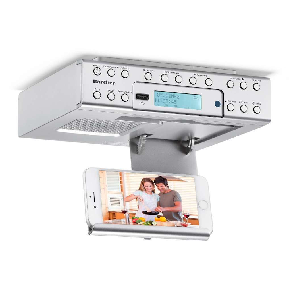 Karcher Küchen-Radio »RA 2030D«, (Digitalradio (DAB+) 2 W), (DAB+ / UKW, Dual-Alarm)