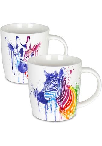 Könitz Becher »Watercoloured Animals Zebra&Giraffe«, (Set, 2 tlg.), 350 ml, 2-teilig kaufen
