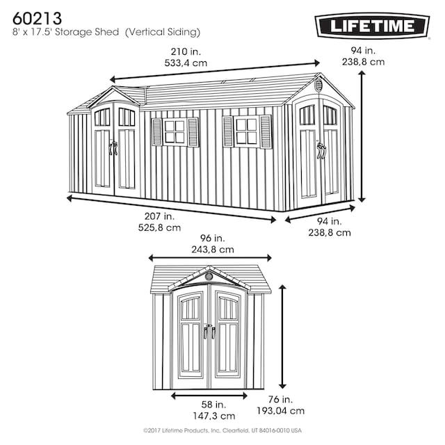 LIFETIME Set: Kunststoffhaus »Chateau«, BxT: 535x244 cm, inkl. Fußboden, Regale und Werkzeugtasche