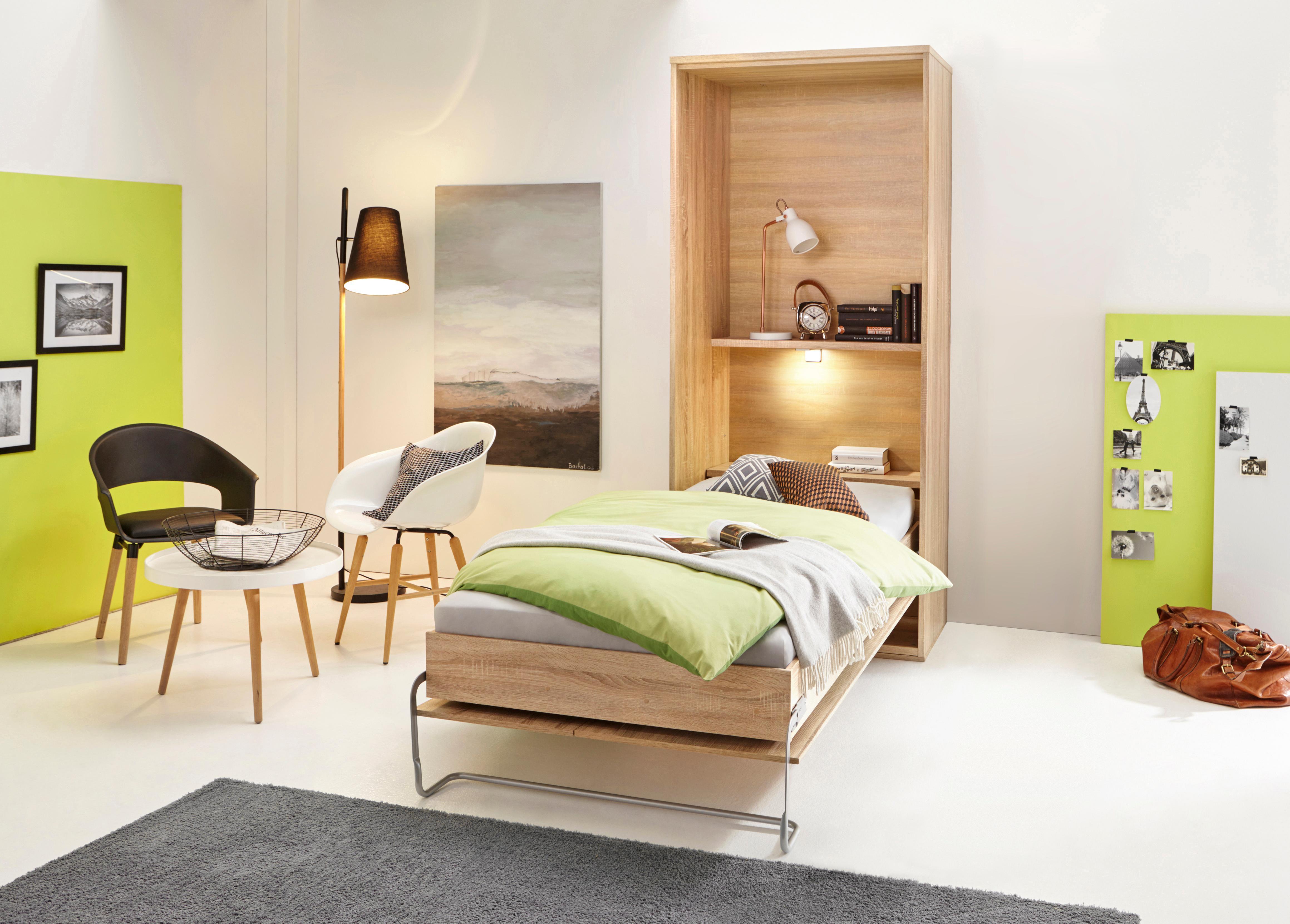 Klappbett mit Regal und LED-Beleuchtung | Schlafzimmer > Betten > Schrankbetten | Natur | Federn | QUELLE