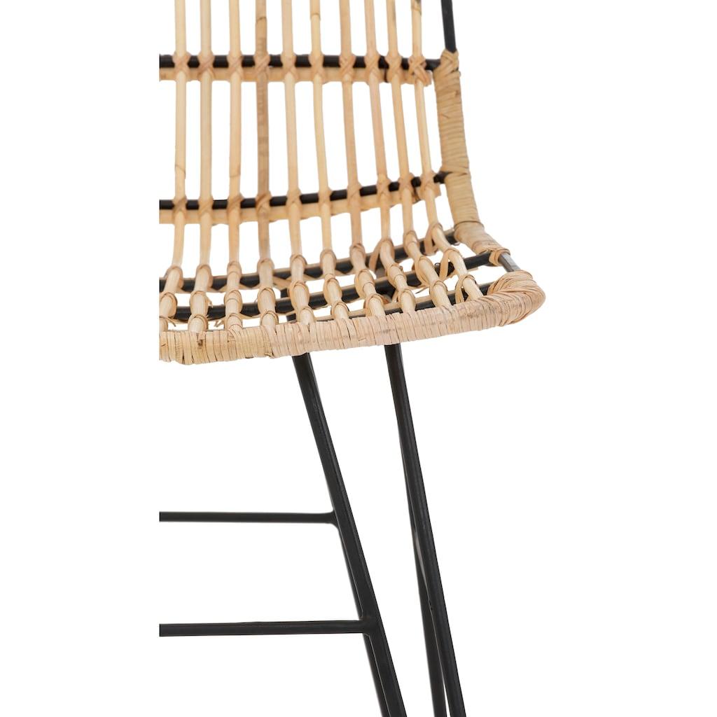 Home affaire Esszimmerstuhl »Filli«, aus einem schönen Rattangeflecht, mit einem edlen Metallgestell, in unterschiedlichen Farbvarianten