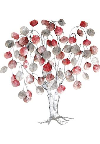 GILDE Wanddekoobjekt »Wandrelief Love Tree, rottöne/silberfarben«, Wanddeko, Höhe 80 cm, aus Metall, Baum Form kaufen