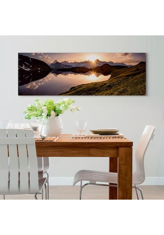 Holzbild »Deco Panel 52x156 Mountain Evening Sunset« kaufen