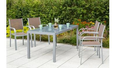 MERXX Diningset »Ostia«, 5 - tlg., 4 Sessel, 1 Tisch 150x90 cm, Aluminium kaufen