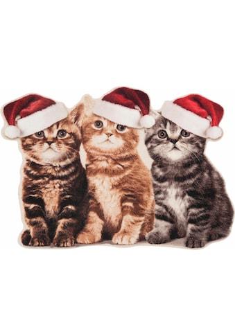 HANSE Home Fußmatte »Weihnachtskatzen«, rechteckig, 7 mm Höhe, Schmutzfangmatte, In-... kaufen