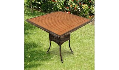 indoba Gartentisch »Valencia«, quadratisch - Polyrattan - braun - IND-70113-TI kaufen