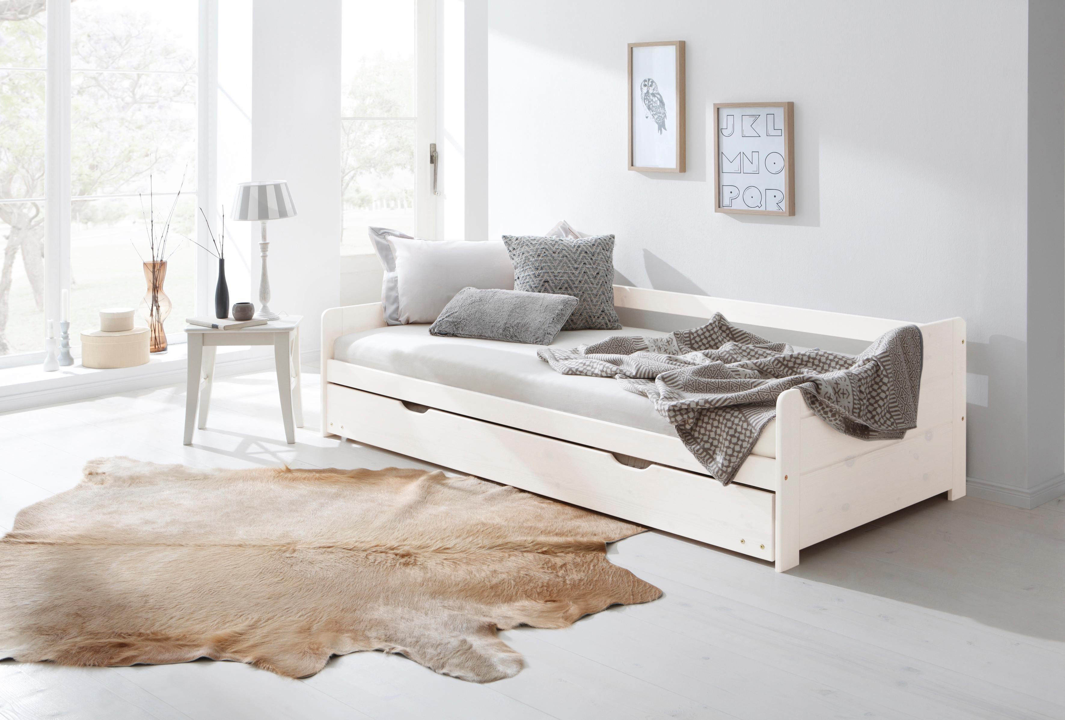 Home affaire Bett »Tim«, mit ausziehbarer Schublade für Zweitmatratze als Gästebett   Schlafzimmer > Betten > Gästebetten   Weiß   HOME AFFAIRE