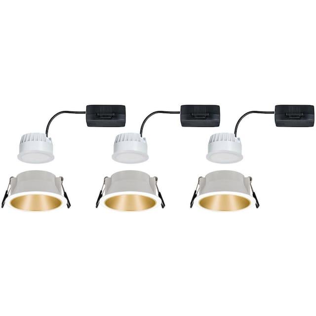 Paulmann,LED Einbauleuchte»Cole 3x6,5W Weiß/Gold matt 3-Stufen-dimmbar 2700K Warmweiß«,