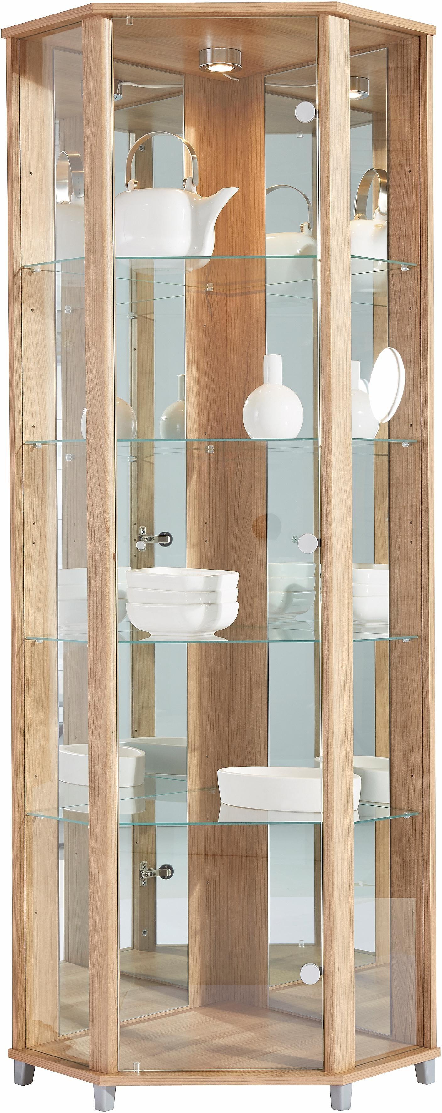 Eckvitrine, Höhe 172 cm, 4 Glasböden | Wohnzimmer > Vitrinen > Eckvitrinen | Braun | Melamin | QUELLE
