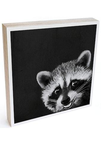 Wall-Art Holzbild »Tischdeko Waschbär Holzbild«, (1 St.) kaufen