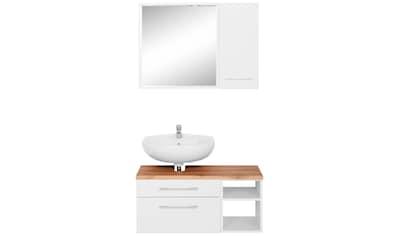 HELD MÖBEL Badmöbel-Set »Davos«, (3 tlg.), Spiegel inklusive Beleuchtung, Hängeschrank und Waschbeckenunterschrank kaufen