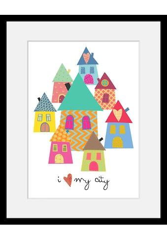 Home affaire Bild »Häuser«, mit Rahmen kaufen