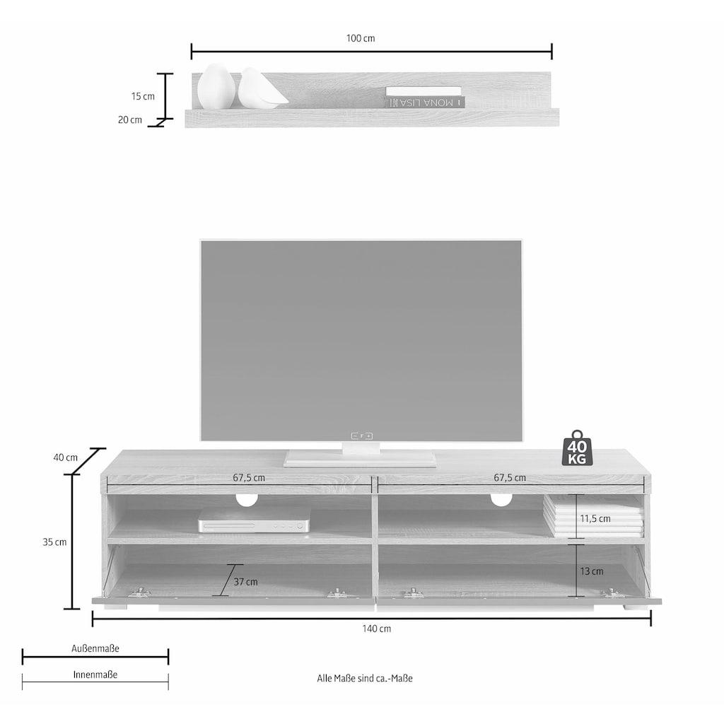 TRENDMANUFAKTUR Lowboard »Roger«, Breite 140 cm