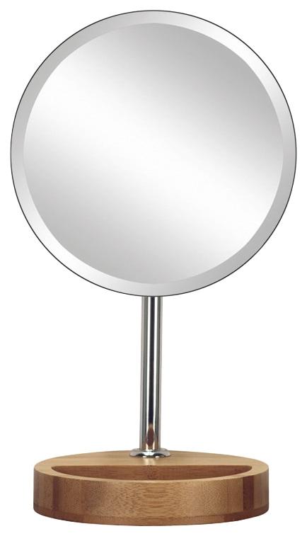 KLEINE WOLKE Kosmetikspiegel »Timber Mirror«, mit Bambus-Fuß | Bad > Bad-Accessoires > Kosmetikspiegel | Beige | Glas | Kleine Wolke