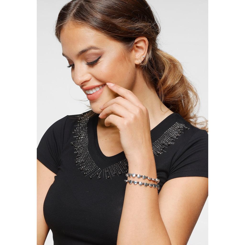 Melrose V-Shirt, mit Zierperlen und Glitzersteinen