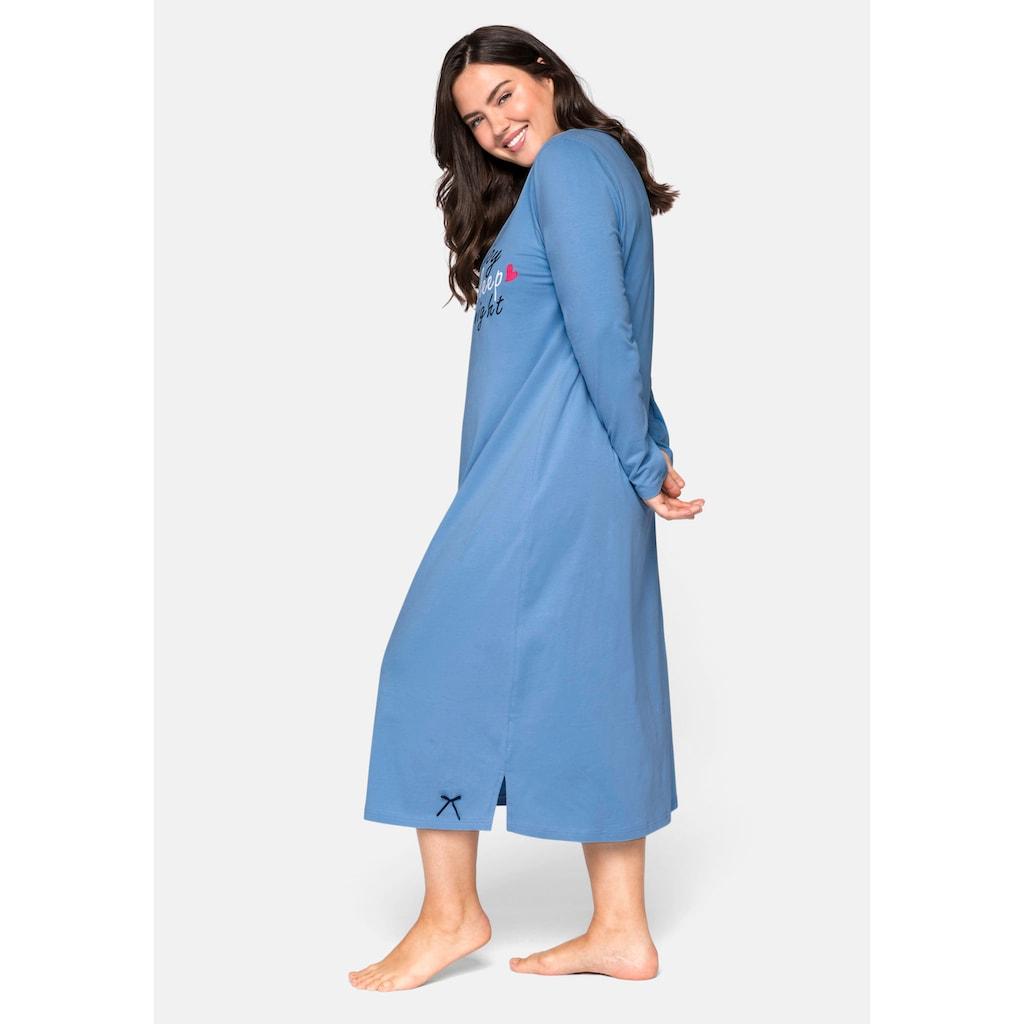 Sheego Nachthemd, mit Frontdruck, in wadenlanger Form