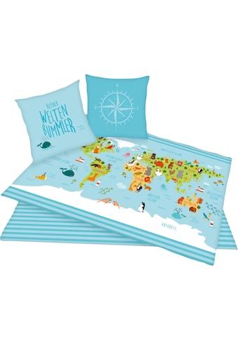 Herding Young Collection Kinderbettwäsche »Weltkarte«, mit Weltkartenmotiv kaufen
