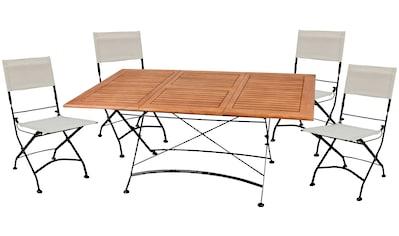 Garden Pleasure Gartenmöbelset »TRIEST«, (5 tlg.), mit leicht ausziehbarem Tisch kaufen