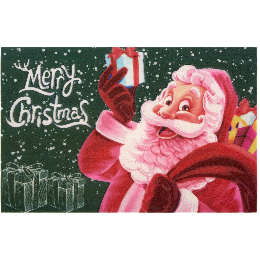 Home affaire Fußmatte »Merry Christmas«, rechteckig, 6 mm Höhe, Schmutzmatte, In- und Outdoor geeignet