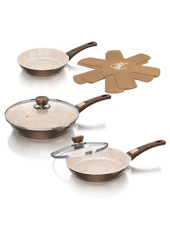 Genius Pfannen-Set, Edelstahl, (Set, 7 tlg.), Abnehmbarer Griff, Aluminium, Keramikbeschichtung, Induktion kaufen