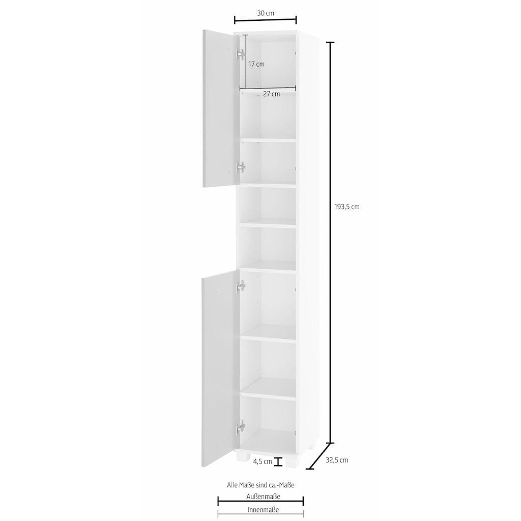 Schildmeyer Hochschrank »Colli«, Höhe 193,7 cm, Badezimmerschrank mit Metallgriffen, Ablageböden hinter den Türen, praktischer Stauraum in den offenen Fächern