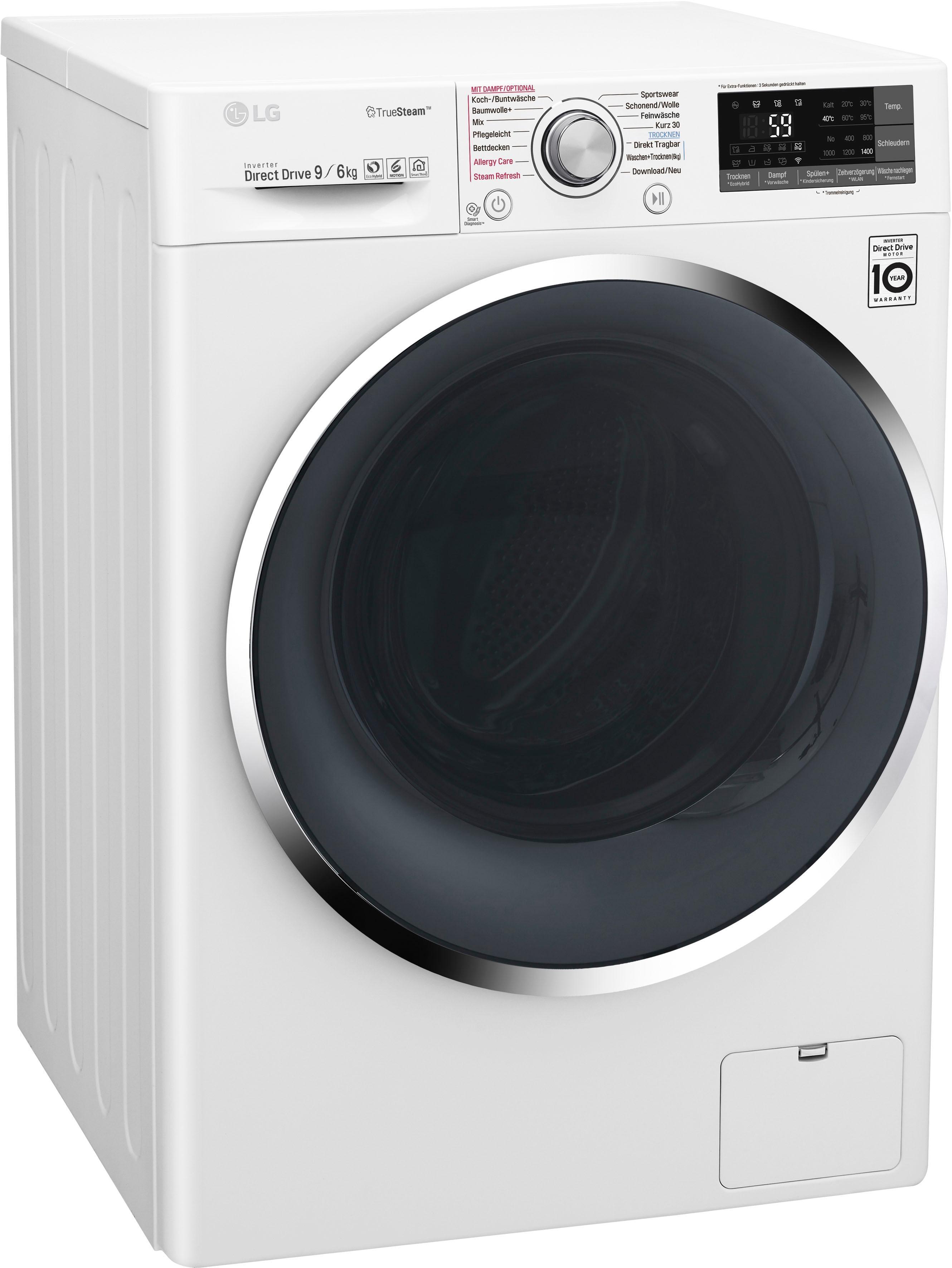 LG Waschtrockner 9 F14WD96TH2, 9 kg / 6 kg, 1400 U/Min | Bad > Waschmaschinen und Trockner > Waschtrockner | Weiß | LG