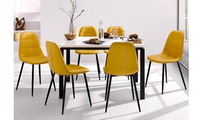 my home Essgruppe »Sabine + Luna«, (Set, 5 tlg.), Esstisch, Breite 120 cm und 4 Esszimmerstühle, Bezug in Kunstleder kaufen