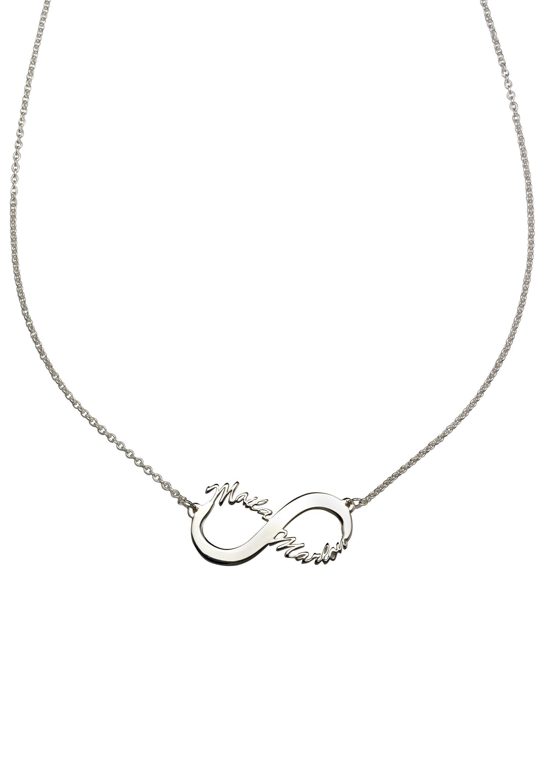 Firetti Namenskette »Infinity Unendlichkeitsschleife - individuell mit 2 Namen gestalten« | Schmuck > Halsketten > Namensketten | Silberfarben | FIRETTI
