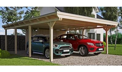 Skanholz Doppelcarport »Emsland«, Leimholz-Nordisches Fichtenholz, 550 cm, natur kaufen