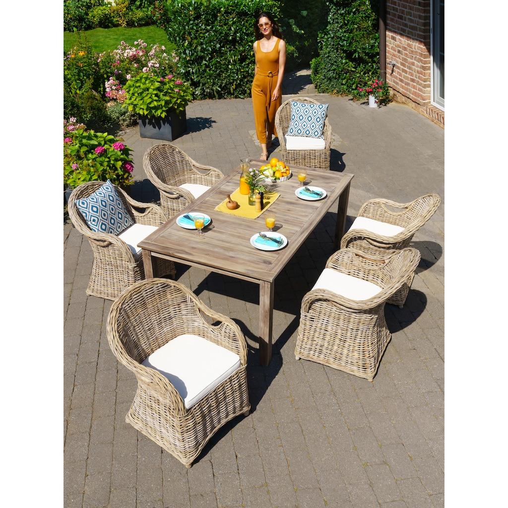 KONIFERA Gartenmöbelset »Sumatra«, (13 tlg.), 6 Sessel, Tisch 180x100 cm, Rattan, inkl. Auflagen