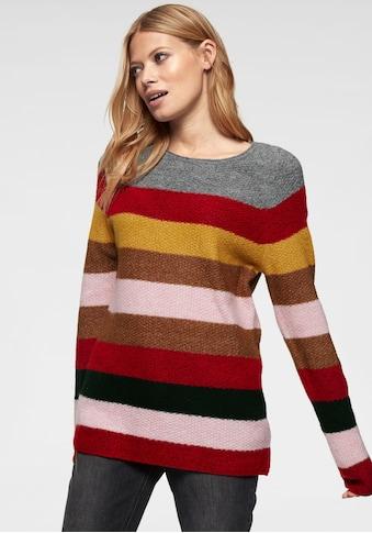 Aniston CASUAL Rundhalspullover, im farbenfrohen Streifen Dessin kaufen