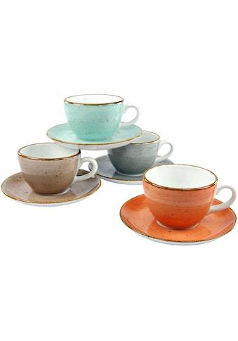 CreaTable Tasse »VINTAGE NATURE«, (Set, 8 tlg.), 4 Tassen, 4 Unterteller kaufen