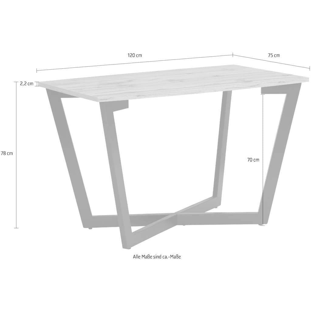 my home Esstisch »Dinise«, mit eckiger Tischplatte