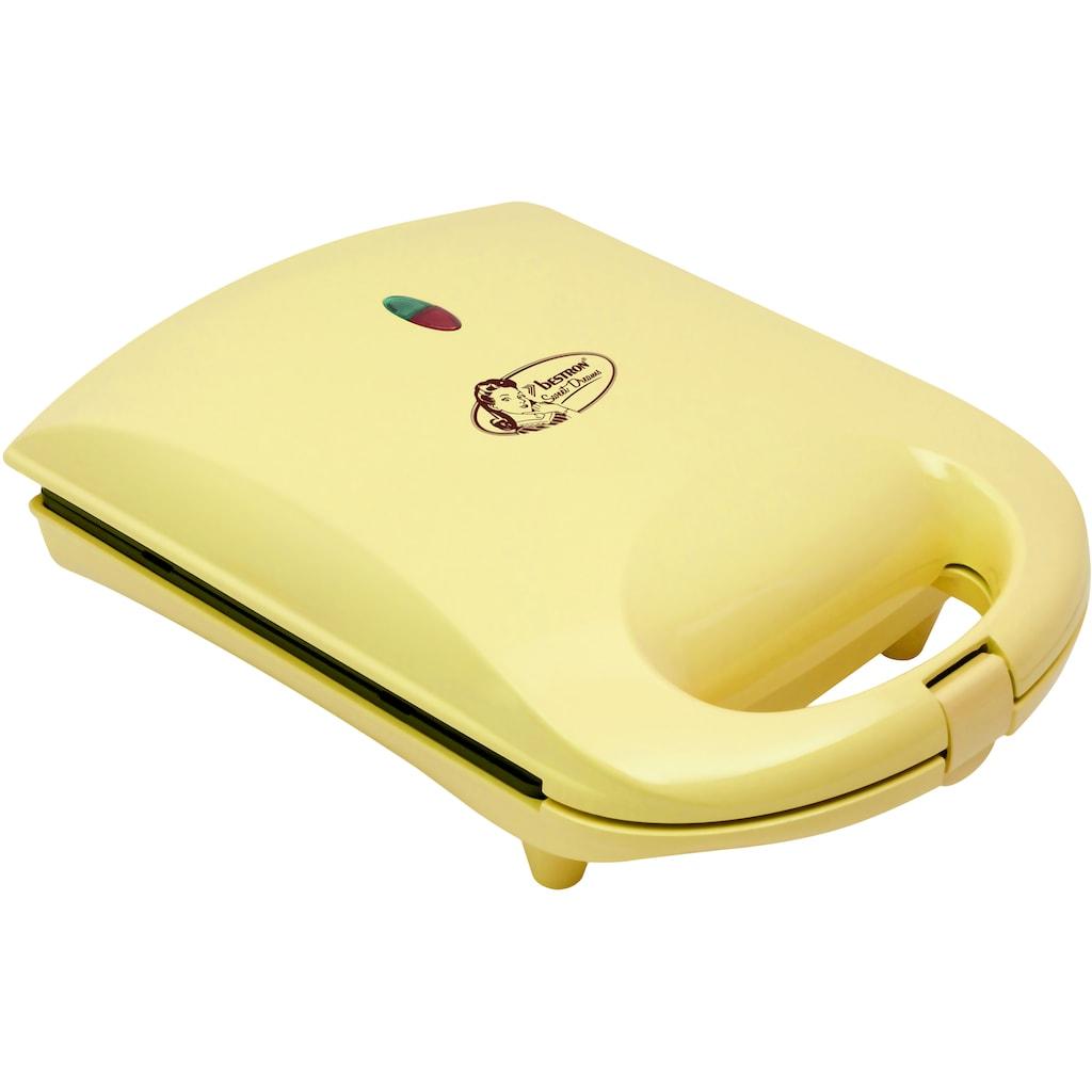 bestron Waffeleisen »DSW271GELB Sweet Dreams«, 780 W, für Herzwaffeln am Stiel, Retro Design